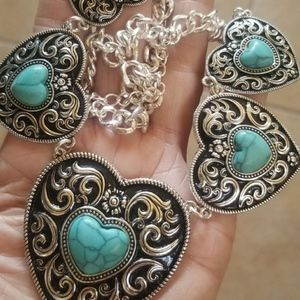 Handmade Filigree Heart Acrylic Turqouise Necklace